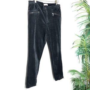 Loft Gray Velvet Rocker Skinny Jeans